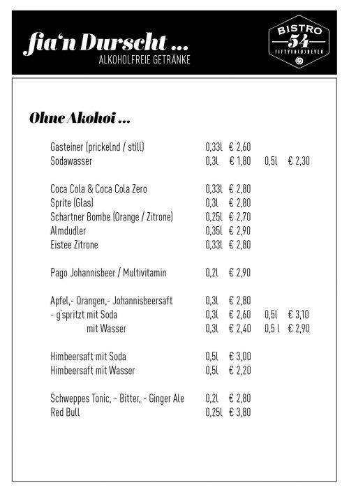 getränkekarte mit preisen vom bistro 54 für alkoholfrei, wie säfte, wasser, coca cola, tonic, red bull