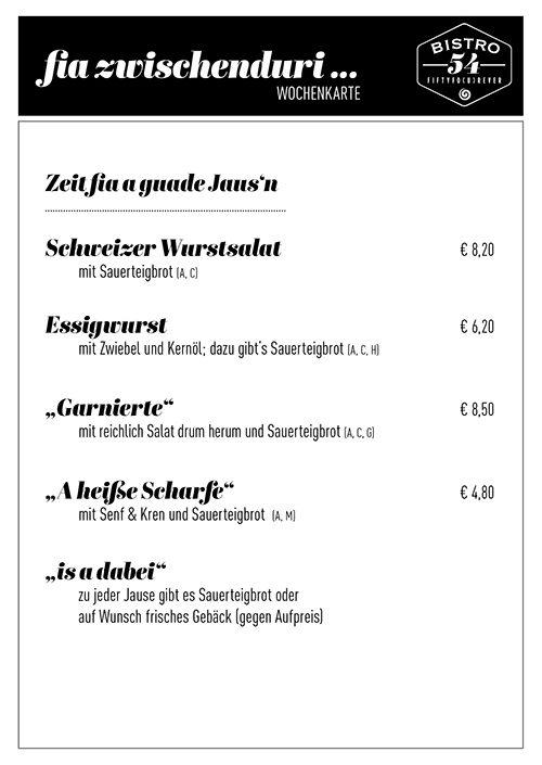 speisekarte mit preisen für den zwischenduri-hunger zeigt das angebot für jause, wurstsalat, garnierte des bistro 54, ebensee
