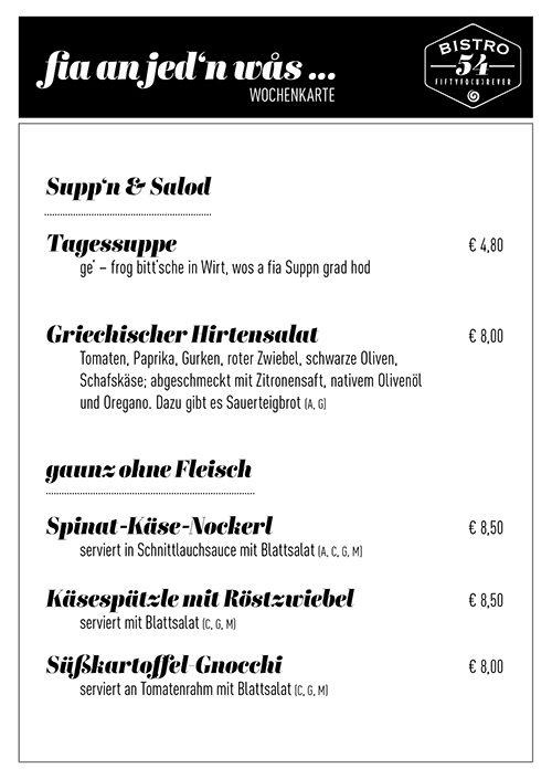 speisekarte mit preise für suppe und salat, vegetarisch vom bistro 54, ebensee